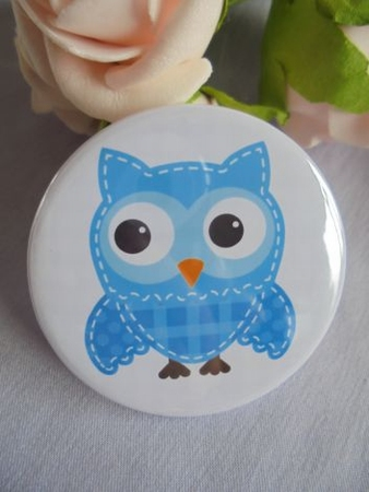 button blauwe uil uiltje 58 mm